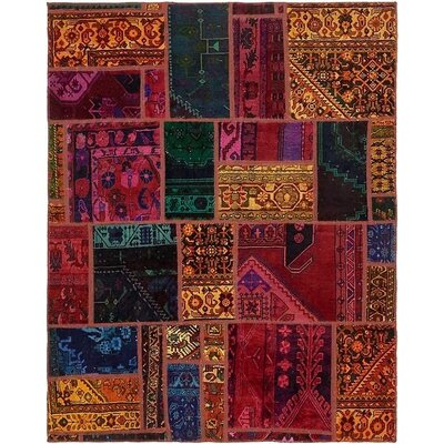 One-of-a-Kind Sela Vintage Persian Hand Woven 100% Wool Orange/Pink Patchwork Area Rug