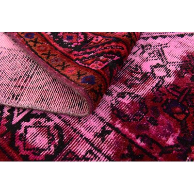 One-of-a-Kind Sela Vintage Persian Hand Woven Wool Pink Oriental Area Rug with Fringe