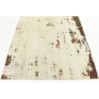 One-of-a-Kind Sela Traditional Vintage Persian Hand Woven Dyed 100% Wool Rectangle Beige Oriental Area Rug