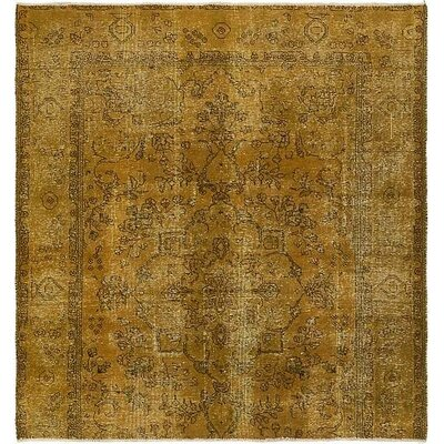 One-of-a-Kind Sela Vintage Persian Hand Woven Wool Square Olive Area Rug