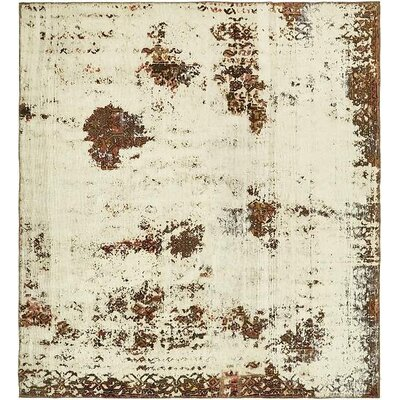 One-of-a-Kind Sela Vintage Persian Square Hand Woven Wool Beige Area Rug with Cotton Backing