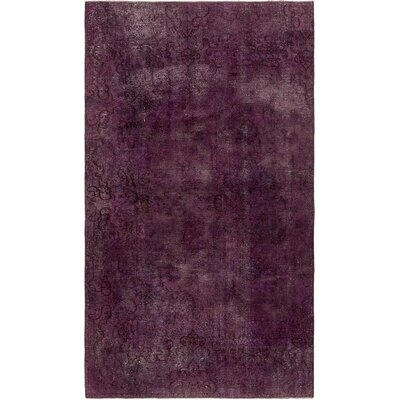 One-of-a-Kind Sela Vintage Persian Hand Woven 100% Wool Purple Oriental Area Rug with Fringe