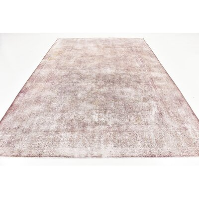 One-of-a-Kind Sela Vintage Persian Hand Woven Wool Rectangle Purple Oriental Area Rug with Fringe