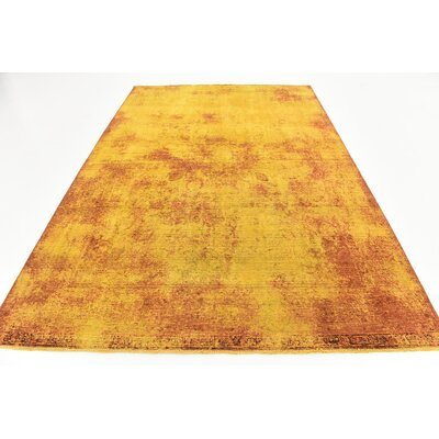 One-of-a-Kind Sela Vintage Persian Hand Woven Wool Gold Area Rug