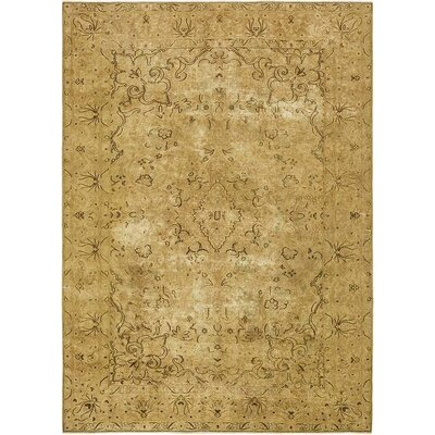 One-of-a-Kind Sela Vintage Persian Hand Woven Wool Rectangle Beige Floral Border Area Rug with Fringe