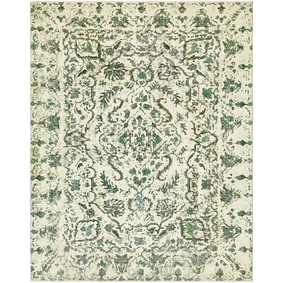 One-of-a-Kind Sela Vintage Persian Hand Woven Wool Rectangle Ivory Oriental Area Rug