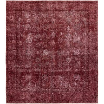 One-of-a-Kind Sela Vintage Persian Hand Woven Dyed Wool Burgundy Area Rug