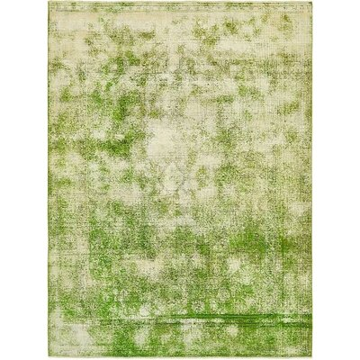 One-of-a-Kind Sela Traditional Vintage Persian Hand Woven Dyed Wool Green Area Rug