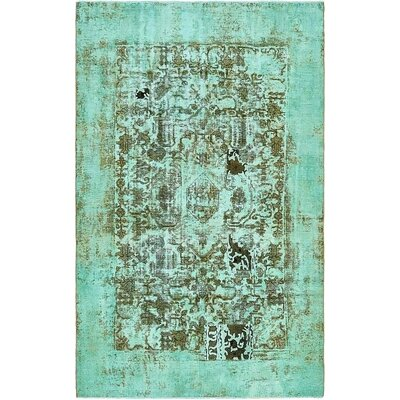 One-of-a-Kind Sela Vintage Persian Hand Knotted Wool Turquoise Area Rug