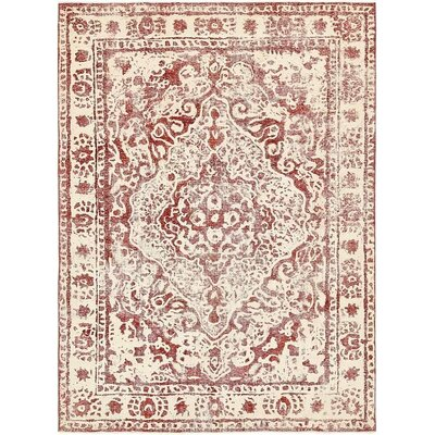 One-of-a-Kind Sela Vintage Persian Hand Woven Wool Red Border Area Rug