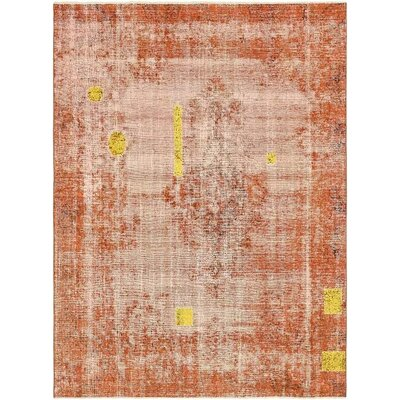 One-of-a-Kind Sela Vintage Persian Hand Woven Wool Distressed Red/Yellow Area Rug