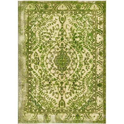 One-of-a-Kind Sela Vintage Persian Hand Woven Wool Rectangle Green Area Rug