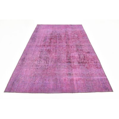 One-of-a-Kind Sela Vintage Persian Hand Woven Wool Distressed Violet Oriental Area Rug