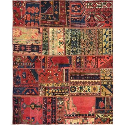One-of-a-Kind Sela Vintage Persian Hand Woven Wool Red Tribal Patchwork Area Rug