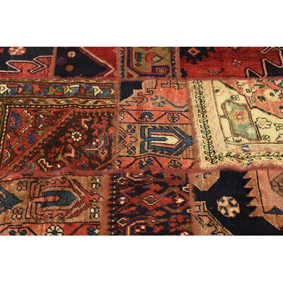 One-of-a-Kind Sela Vintage Persian Hand Woven Wool Red Patchwork Area Rug with Fringe
