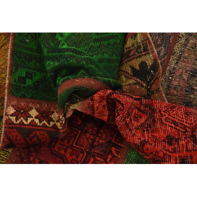 One-of-a-Kind Sela Vintage Persian Hand Woven Wool Red Patchwork Area Rug with Cotton Backing