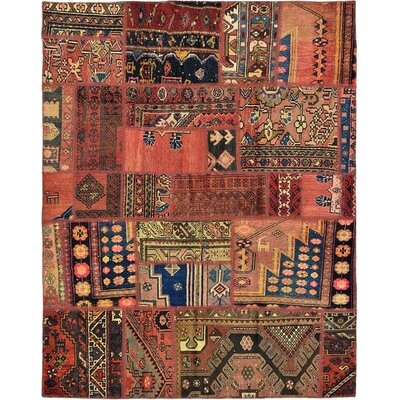 One-of-a-Kind Sela Vintage Persian Hand Woven Wool Rectangle Red/Brown Tribal Patchwork Area Rug