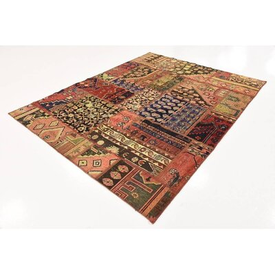 One-of-a-Kind Sela Vintage Persian Hand Woven Wool Rectangle Red/Orange Tribal Patchwork Area Rug