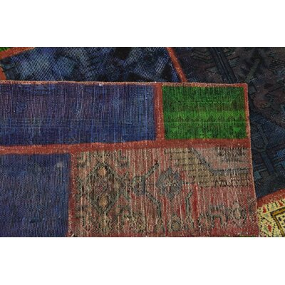 One-of-a-Kind Sela Vintage Persian Hand Woven Dyed Wool Red/Green Tribal Patchwork Area Rug