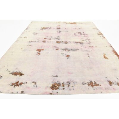 One-of-a-Kind Sela Traditional Vintage Persian Hand Woven Dyed Wool Cream Area Rug