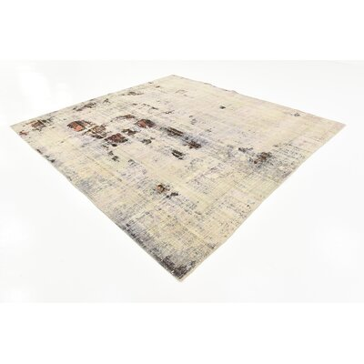 One-of-a-Kind Sela Vintage Persian Square Hand Woven Wool Distressed Ivory Area Rug