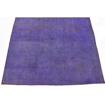 One-of-a-Kind Sela Traditional Vintage Persian Hand Woven Dyed Wool Violet Area Rug with Fringe