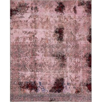One-of-a-Kind Sela Traditional Vintage Persian Hand Woven Dyed Wool Violet Oriental Area Rug
