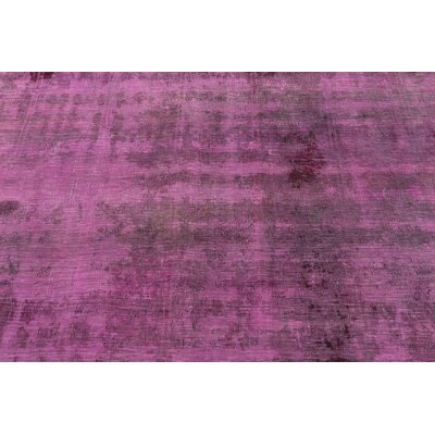 One-of-a-Kind Sela Traditional Vintage Persian Hand Woven Dyed Wool Violet Oriental Area Rug with Cotton Backing