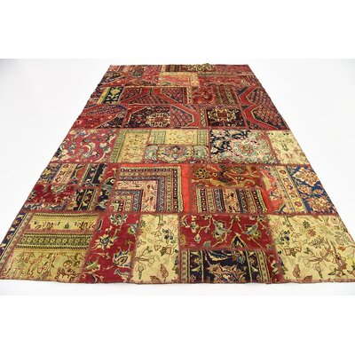 One-of-a-Kind Sela Vintage Persian Hand Woven Wool Red/Beige Geometric Area Rug with Cotton Backing