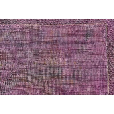 One-of-a-Kind Sela Vintage Persian Hand Woven 100% Wool Violet Area Rug with Fringe