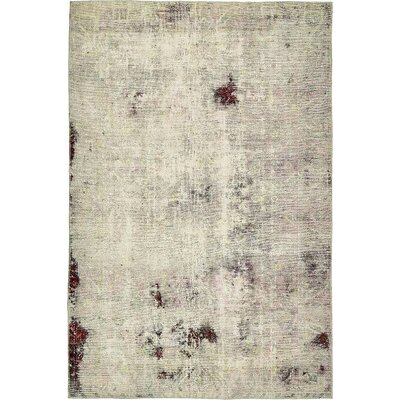 One-of-a-Kind Sela Vintage Persian Hand Woven 100% Wool Distressed Ivory Oriental Area Rug
