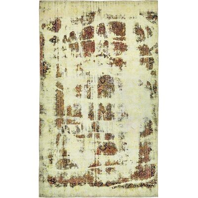 One-of-a-Kind Sela Vintage Persian Hand Woven 100% Wool Distressed Ivory Area Rug with Cotton Backing