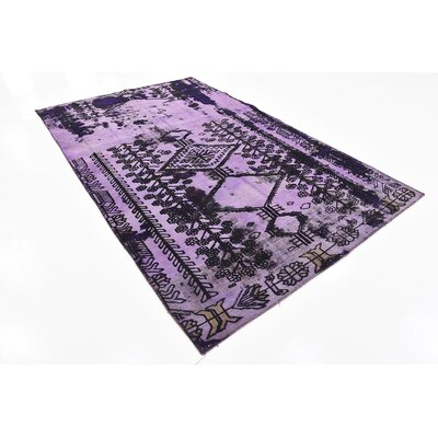 One-of-a-Kind Sela Vintage Persian Hand Knotted Wool Violet Area Rug