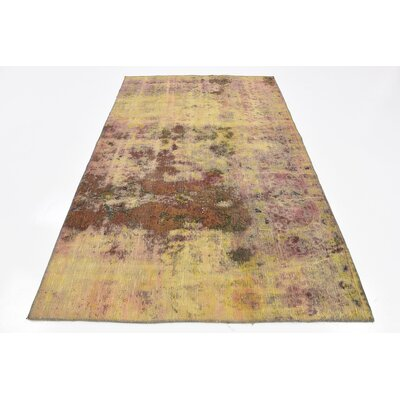 One-of-a-Kind Muhammad Traditional Vintage Persian Hand Woven Wool Yellow Area Rug