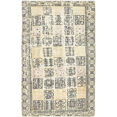 One-of-a-Kind Sela Vintage Persian Hand Woven 100% Wool Distressed Ivory Area Rug