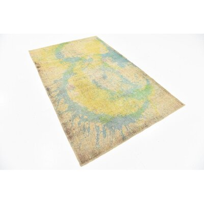 One-of-a-Kind Muhammad Vintage Persian Hand Knotted Wool Yellow Area Rug