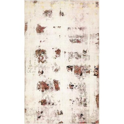 One-of-a-Kind Sela Vintage Persian Hand Woven Dyed Wool Distressed Ivory Area Rug