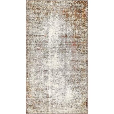 One-of-a-Kind Sela Traditional Vintage Persian Hand Woven Wool Light Brown Area Rug