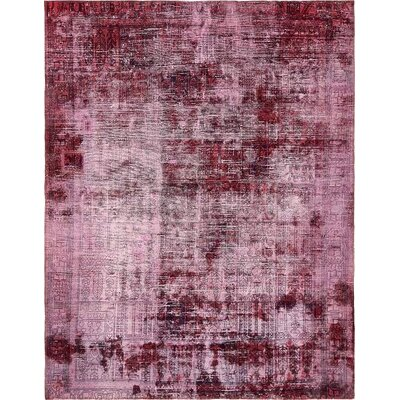 One-of-a-Kind Sela Vintage Persian Hand Woven Dyed Wool Violet Oriental Area Rug