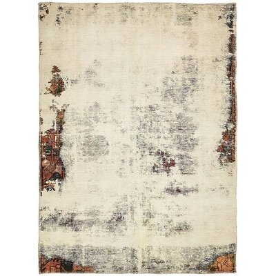 One-of-a-Kind Sela Vintage Persian Hand Woven Wool Rectangle Distressed Ivory Area Rug
