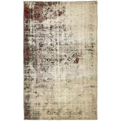 One-of-a-Kind Sela Vintage Persian Hand Woven Wool Distressed Ivory Area Rug with Fringe