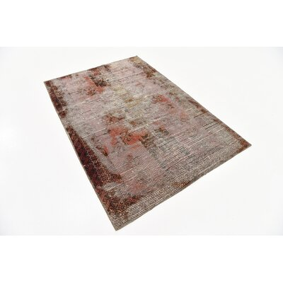 One-of-a-Kind Sela Vintage Persian Hand Woven Wool Distressed Red Streak Area Rug