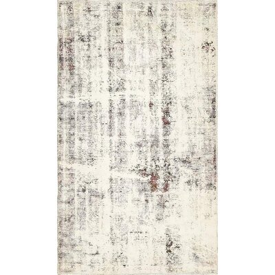 One-of-a-Kind Sela Traditional Vintage Persian Hand Woven 100% Wool Distressed Ivory Area Rug
