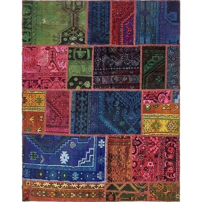 One-of-a-Kind Sela Vintage Persian Hand Woven Wool Rectangle Navy Blue Patchwork Area Rug
