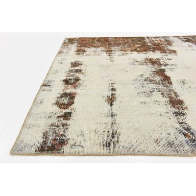 One-of-a-Kind Sela Traditional Vintage Persian Hand Woven Dyed Wool Distressed Ivory Area Rug