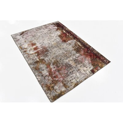 One-of-a-Kind Sela Traditional Vintage Persian Hand Woven Wool Rectangle Distressed Ivory Area Rug