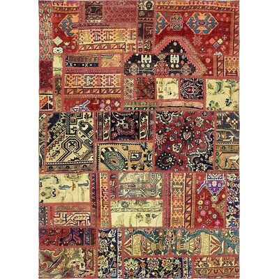 One-of-a-Kind Sela Vintage Persian Hand Woven Wool Rectangle Red Floral Patchwork Area Rug