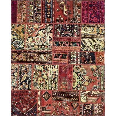 One-of-a-Kind Sela Vintage Persian Hand Woven Wool Red Rectangle Patchwork Area Rug with Fringe
