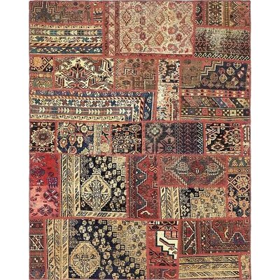 One-of-a-Kind Sela Vintage Persian Hand Woven 100% Wool Red Patchwork Area Rug with Fringe