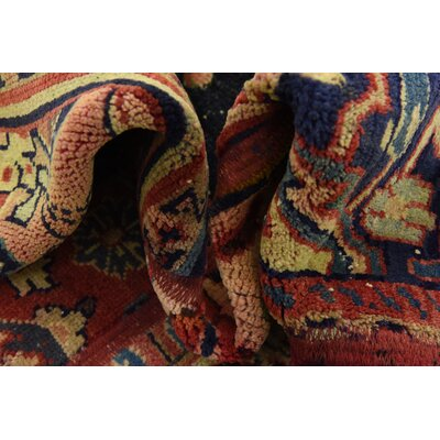 One-of-a-Kind Sela Vintage Persian Hand Woven 100% Dyed Wool Red Patchwork Area Rug with Fringe